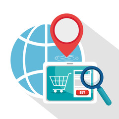 Tablet and global sphere of Logistic transportation and delivery theme Vector illustration