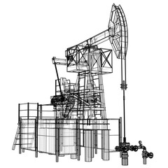 Oil pump jack in wire-frame style