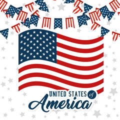 Flag and pennant of United States of America theme Vector illustration