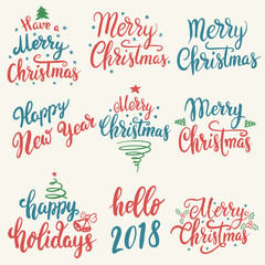 Merry Christmas, Happy New Year. Set of hand drawn lettering isolated on white background.