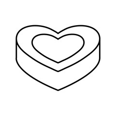 heart box icon over white background vector illustration