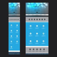 Responsive One Page Website Template - Bubbles Header Design - Desktop and Mobile Version
