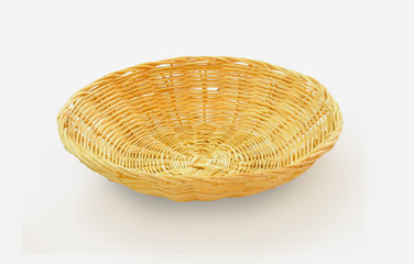 Basket bamboo on white background.