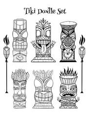 Wood Polynesian Tiki idols, gods statue carving, torch.