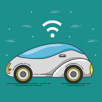 Futuristic car and wifi icon of transportation vehicle and automobile theme Vector illustration