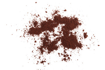 Pile of powdered, instant coffee isolated on white background, top view