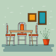 Table and seats of Home and furniture theme Vector illustration