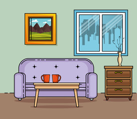Couch of Home and furniture theme Vector illustration