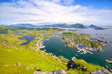 Fotomurales - Fishing village Ballstad from above, Lofoten Islands, Norway