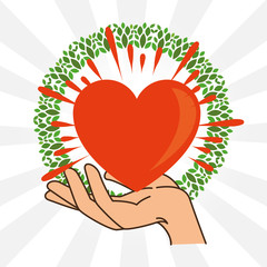 Heart and hands of Peace and love theme Vector illustration