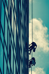 High-altitude work on a skyscraper