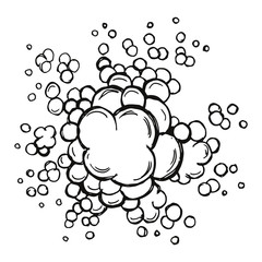 Explosion smoke vector. hand drawing isolated