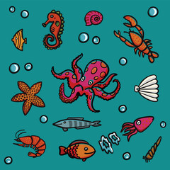 Marine life in cartoon style on a blue background. Lobster, shrimps, snails, sea cabbage etc.