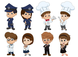 Set of kid occupation,police,chef,docter,nurse,business.