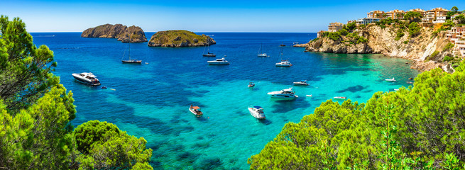 Spain Majorca Mediterranean Sea Panorama Coast Bay with Boats at Santa Ponsa