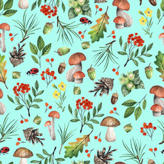 Seamless pattern with mushrooms, nuts, leaves, acorns. Watercolor hand drawn