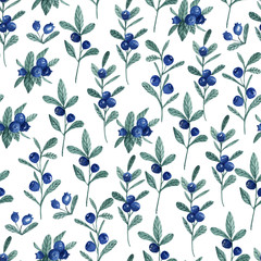 Seamless white pattern with blueberry. Watercolor hand drawn