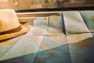 Map and hat planning travel