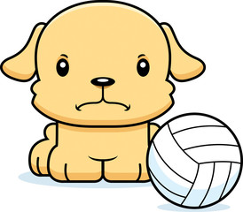 Cartoon Angry Volleyball Player Puppy