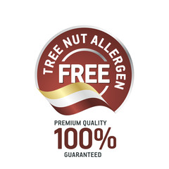 Tree Nut Food Allergen Free brown label logo icon