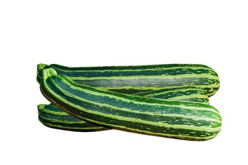 Three fresh green striped zucchini or courgette, isolated on white background