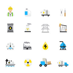 Oil and Industry Icons. Set of Business and Finance Vector Illustration Color Icons Flat Style.