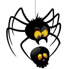 Halloween Spider Cartoon holding Black Skull