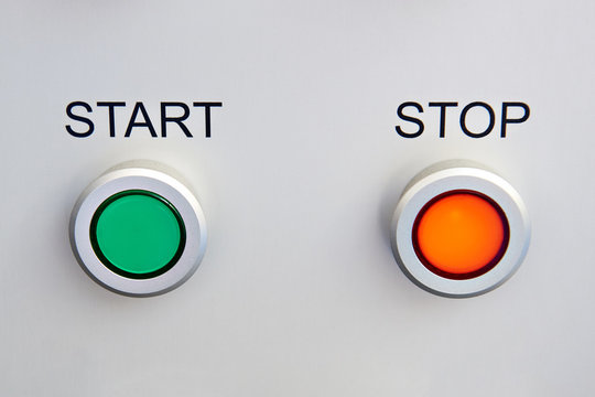 Start and stop buttons on device