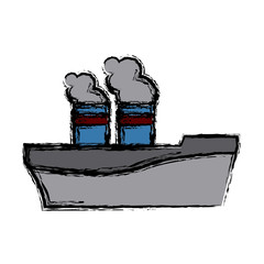 ship chimney cargo logistic sea transportation icon vector illustration
