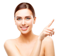 Happy Woman Pointing by Finger, Smiling Girl Beauty Face Makeup, Beautiful Model white isolated