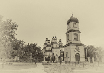 Grunge picture of the Orthodox old temple