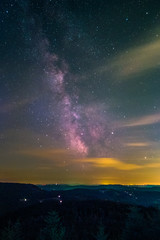 The center of the Milky Way as seen from the Black Forest High Road near the lake Mummelsee at Seebach in Germany.