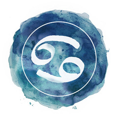 cancer zodiac sign on watercolor background