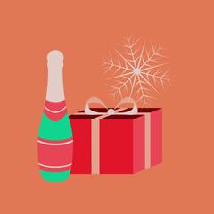 flat illustration on background of gift snowflake
