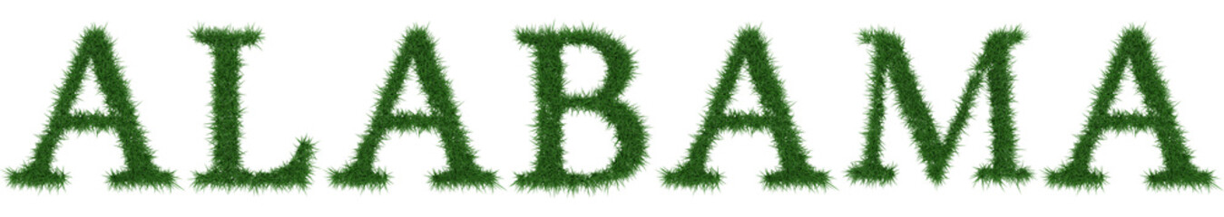Alabama - 3D rendering fresh Grass letters isolated on whhite background.