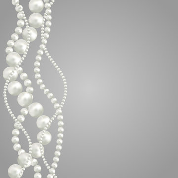 Abstract vector background with beautiful 3D shiny natural white pearl garlands of beads. Set for celebratory design, Christmas decorations. wedding theme. Vector illustration.