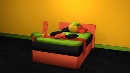 stylisches Bett in kräftigen Farben mit schlafendem Emoticon