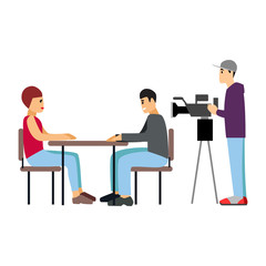 Vector illustration Tv journalist taking interview in front camera
