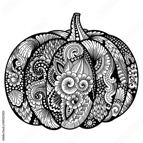 Pumpkin With Zentangle Pattern Black And White For Coloring Page Or Relax Book