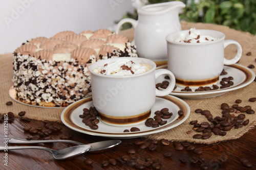 Coffee With Whipped Cream And Chocolate Birthday Cake