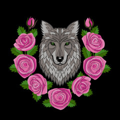 Wolf and Roses Embroidery