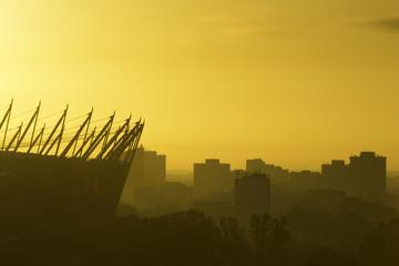 Wschód słońca w Warszawie - fototapety na wymiar