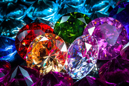 Colorful polished diamond jewelry