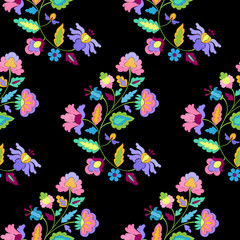 Fantasy Flowers Embroidery Seamless Pattern