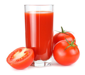 Foto op Canvas Sap tomato juice isolated on white background. juice in glass
