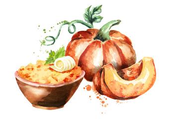 Pumpkin porridge in the bowl. Watercolor hand-drawn illustration