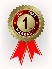 Emblem of gold color with the text of one year warranty