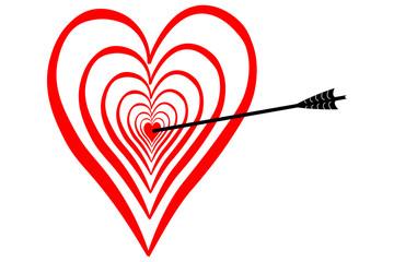 Treffer in der Liebe, mitten in das Herz, Dartscheibe mit Pfeil