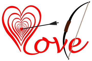 Treffer in der Liebe, mitten in das Herz, Bogen mit Pfeil
