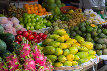 tropical fruit on asian market